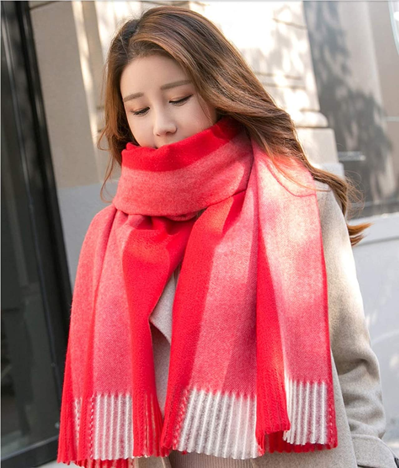JUN Scarf Female Winter Thick Section Warm Korean Version of The Wild Long Plaid Trend Shawl (color   C)