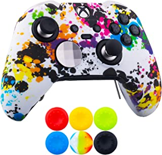 9CDeer 1 x Protective Customize Transfer Print Silicone Cover Skin Graffiti + 6 Thumb Grips Analog Caps for [Xbox One Elite] Controller Compatible with Official Stereo Headset Adapter