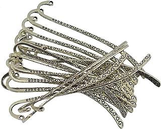 segnalibri POFET 10 segnalibri vintage in argento tibetano con piume fai da te