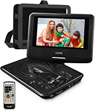 UEME Mini DVD Player for Kids with 7 inches Swivel Screen and Internal Rechargeable Battery, Support DVD CD SD USB Card, with Car Headrest Mount Holder, Region Free