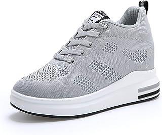 0755ef071b6bf AONEGOLD® Femme Baskets Compensées Chaussure de Sport Marche Fitness  Sneakers Basses Compensées 8 cm