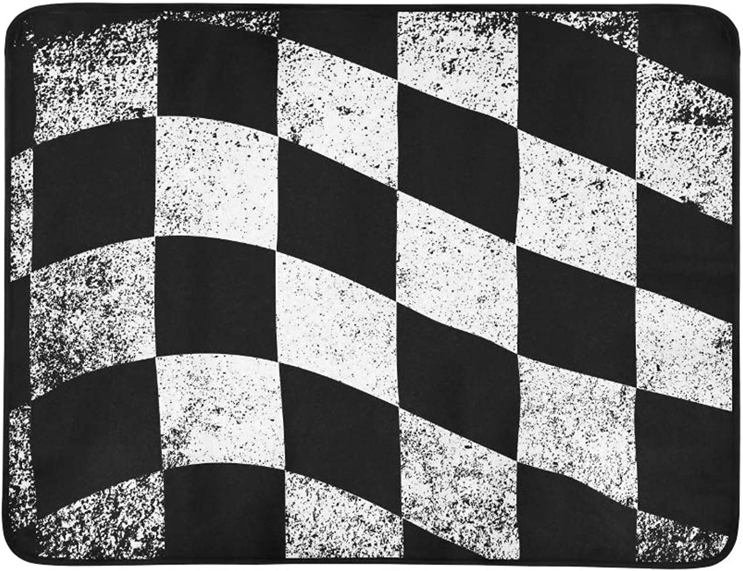 Dirty Chequered Flag Black White Checked Pattern Pattern Portable and Foldable Blanket Mat 60x78 Inch Handy Mat for Camping Picnic Beach Indoor Outdoor Travel