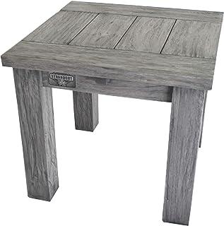 STRANDGUT07 - Mesa de centro de madera de teca aproximadamente 50 x 50 x 45 cm gris lavado