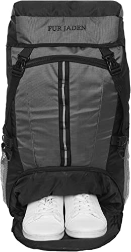 55 LTR Trekking Hiking Sports Travel Rucksack Backpack with Shoe Compartment for Outdoor Travel and Backpacking Weekend Trips Black Grey