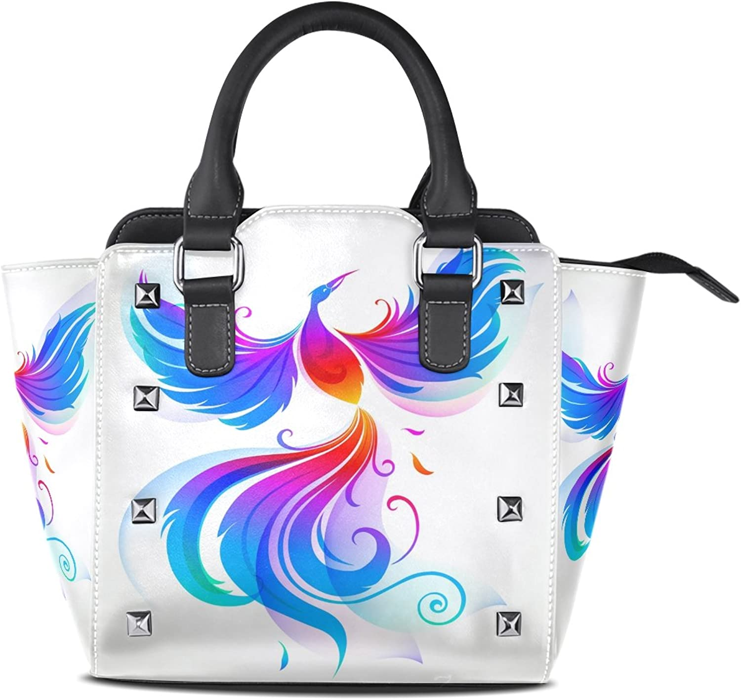 Imobaby colorful Bird Phoenix PU Leather Girls TopHandle Handbags SingleShoulder Ladies Tote Crossbody Bag Messenger Bags For Women