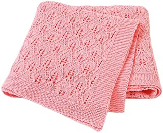 100% Cotton Knitted Cellular Baby Blanket for Boy Girls Baby Knit Blanket Soft Thick Knitted Wrap Blanket Pram Cot Crib Ne...
