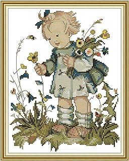 Kcibyvx kreuzstich Stickpackungen Squirrel and Bird 14 Count gedruckt/ Kreuzstich/ DIY handgemachte Handarbeiten 35cm x 31cm