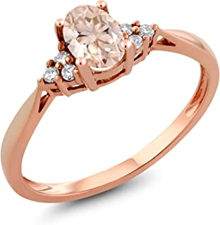 0.44 Ct Oval Peach Morganite and Diamond 14K Rose Gold Ring