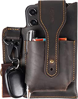 Leather Phone Holster, Leather Cell Phone Holster for Belt, Leather Phone Pouch Case, Belt Holster Pouch for iPhone Samsung Galaxy with Credit Card Holder, Cigarette, Tape Measure 10 ft