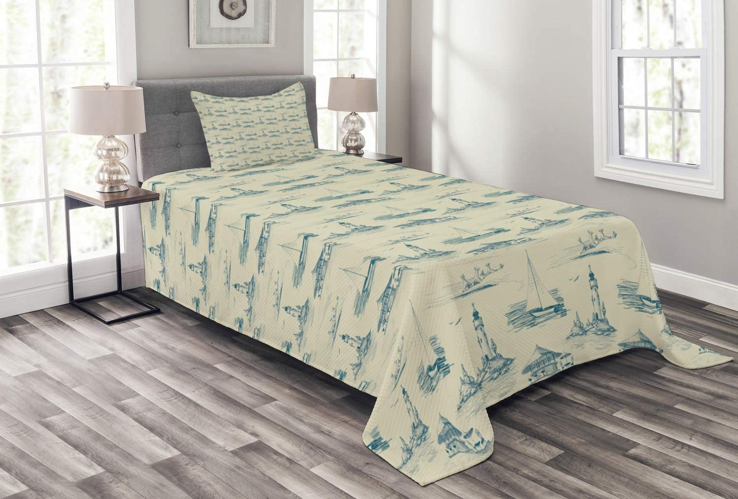 Ambesonne Lighthouse Bedspread Max 83% OFF Hand Summert Beach Spring new work one after another Drawn Pattern