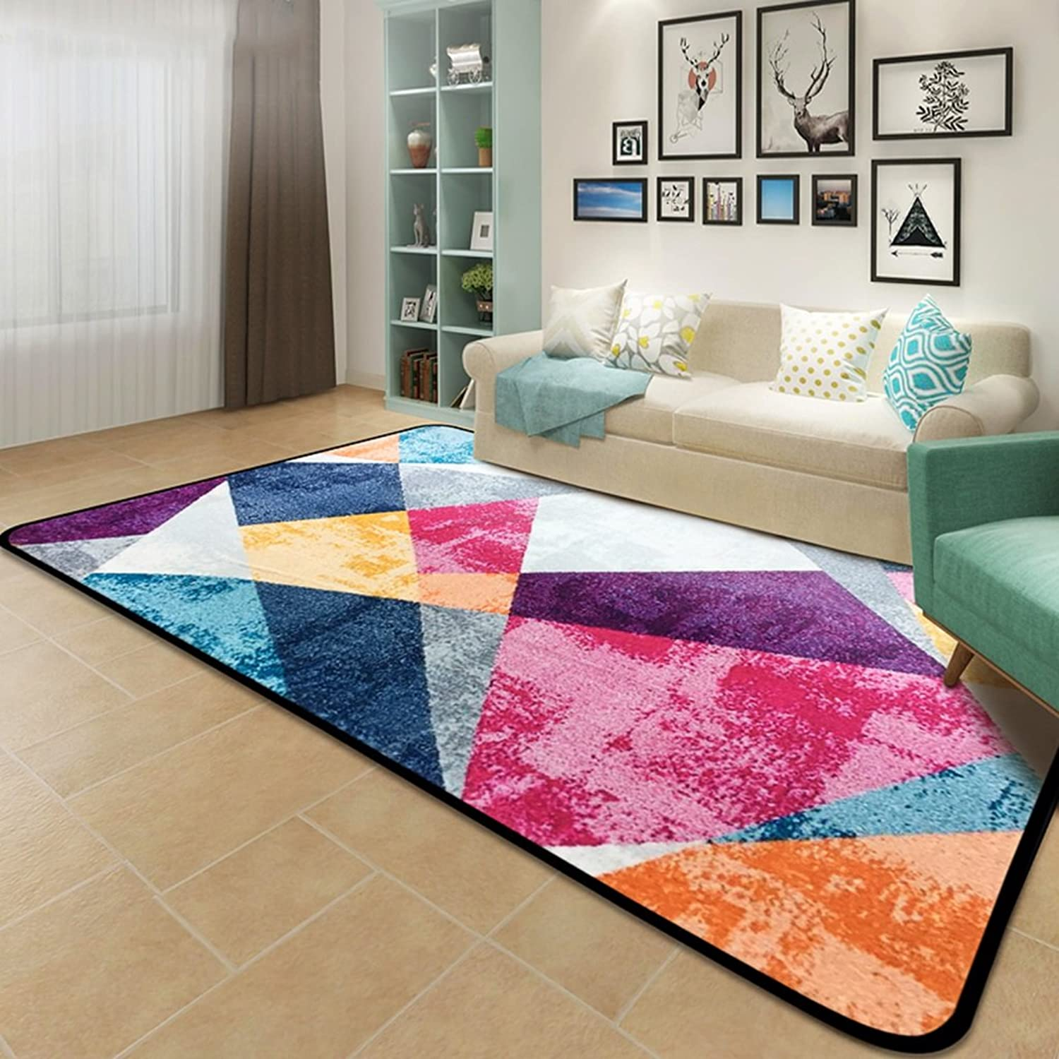 @home rugs Rectangle Rug, Creative colord Geometric Abstract Rug Living Room Coffee Table Bedroom Rug ( color   A , Size   120180cm )
