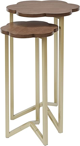 Silverwood FT1263 GLD RGR Daphne Nesting Accent Tables 2pc 17 Dia X 27 H