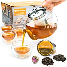 Stovetop Safe Tea Kettle, Glass Teapot with Infuser Set with Extra Blooming Tea, Loose Leaf Tea & Double Wall Cups, Removable Stainless Steel Strainer, Microwave, Dishwasher Safe, Tea Maker, Tea Pot