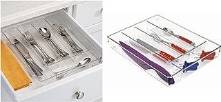 iDesign Linus Kitchen Drawer Organizer for Silverware, Spatulas, Gadgets - Clear