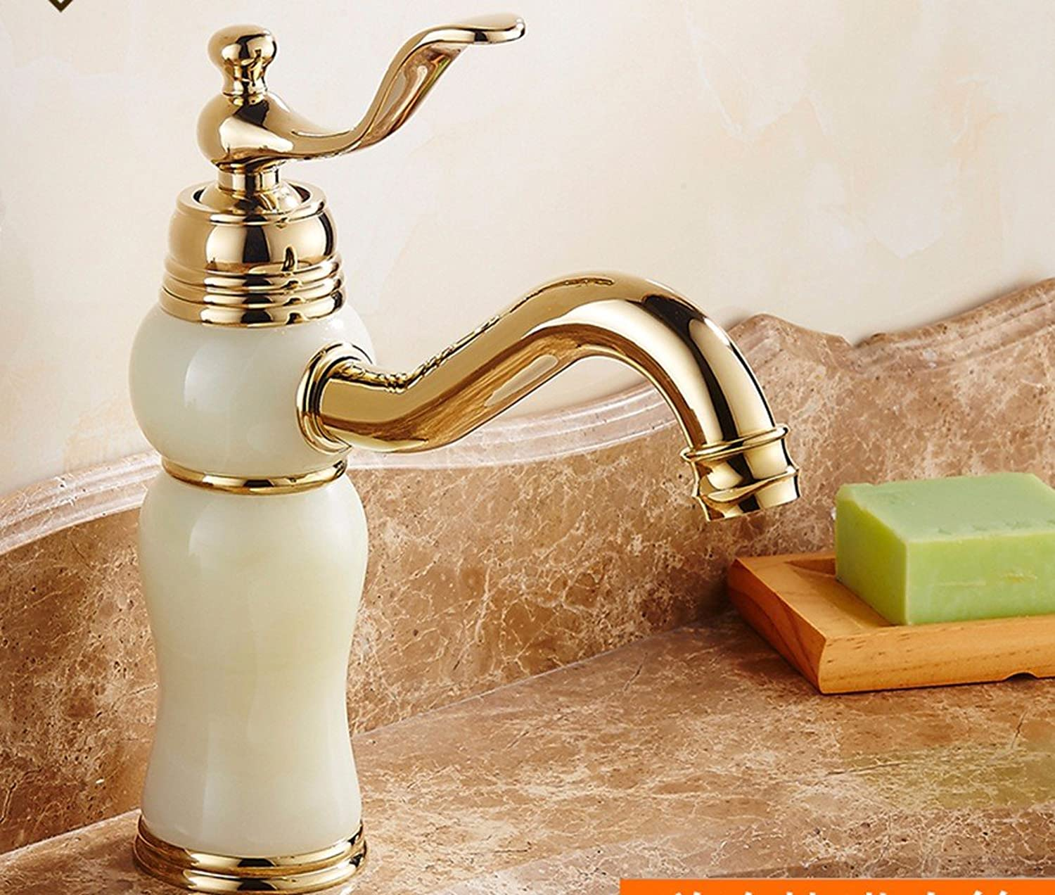 Hlluya Professional Sink Mixer Tap Kitchen Faucet Copper basin, hot and cold, washing your face, jade, gold, sink Faucet 13
