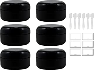Black Low Profile Double Wall Rounded Plastic Jar with Dome Lid 2 oz / 60 ml (Pack of 6) + Spatulas and Labels