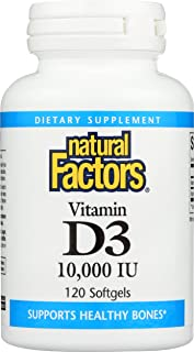 Natural Factors, Vitamin D3 10000 IU, Supports Strong Bones, Teeth, and Muscle and Immune Function with Flaxseed Oil, 120 ...