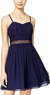 Juniors' Lace Chiffon A-Line Dress