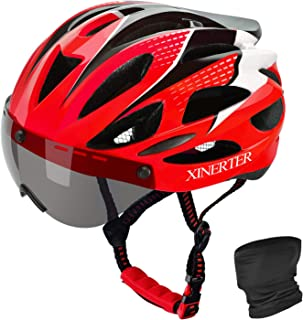 XinerTer Adult Bike Helmet,Road Bike Helmet and cycling mask Detachable Magnetic Goggles, Replacement Lining Removable Bic...