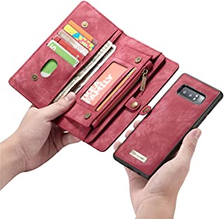 Esing Folio Zipper Purse Leather Wallet Cover Cases Compatible for Samsung Galaxy Note 8 Detachable Case with Flip Credit Card Slots Holder (Red)