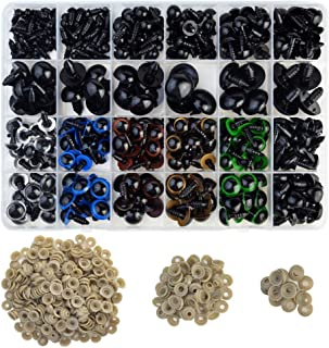 Safety Eyes, Jerbro 348pcs 5-20mm Colorful Plastic Safety Eyes and Safety Noses with Washers for Doll Making Puppet