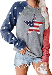 USA Flag Printed Pullover for Women Long Sleeve Casual Blouse Teen Girls Tops Shirts Tee Shirts Tee (Color : F, Size : X-L...