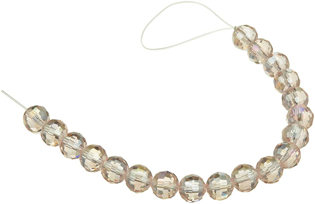 Venezia 1999-4434 Ab Faceted Round Crystal Bead Strand, Pink
