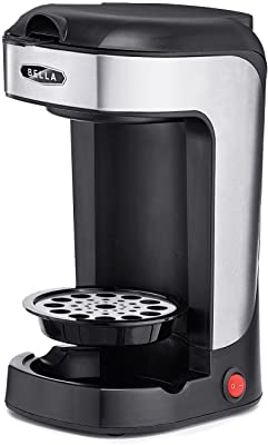 BELLA One Scoop One Cup Coffee Maker, Brew in Minutes, Dishwater Safe, Black and Stainless Steel, Great for Small Kitchens