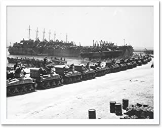 War WWII USA LST Tanks Invasion Sicily 1943 Photo Art Print Framed Poster Wall Decor 12x16 inch