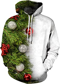 Yidarton 3D Funny Christmas Hoodie Printed Sweatshirt Ugly Sweater Long Sleeve Tops with Pocket for Men Women