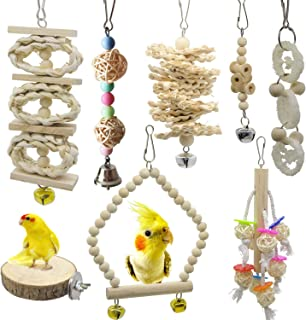 Deloky 8 Packs of Bird Parrot Swing Chewing Toys-Natural Wood Bird Climbing Hanging Cage Toys Suitable for Small Parakeets,  Cockatiels,  Conures,  Finches, Budgie, Macaws,  Parrots,  Love Birds