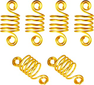 BBTO 50 Pieces Copper Hair Dreadlocks Coil Hair Wraps Braiding Dread Locks Metal Hair Cuffs (Gold)
