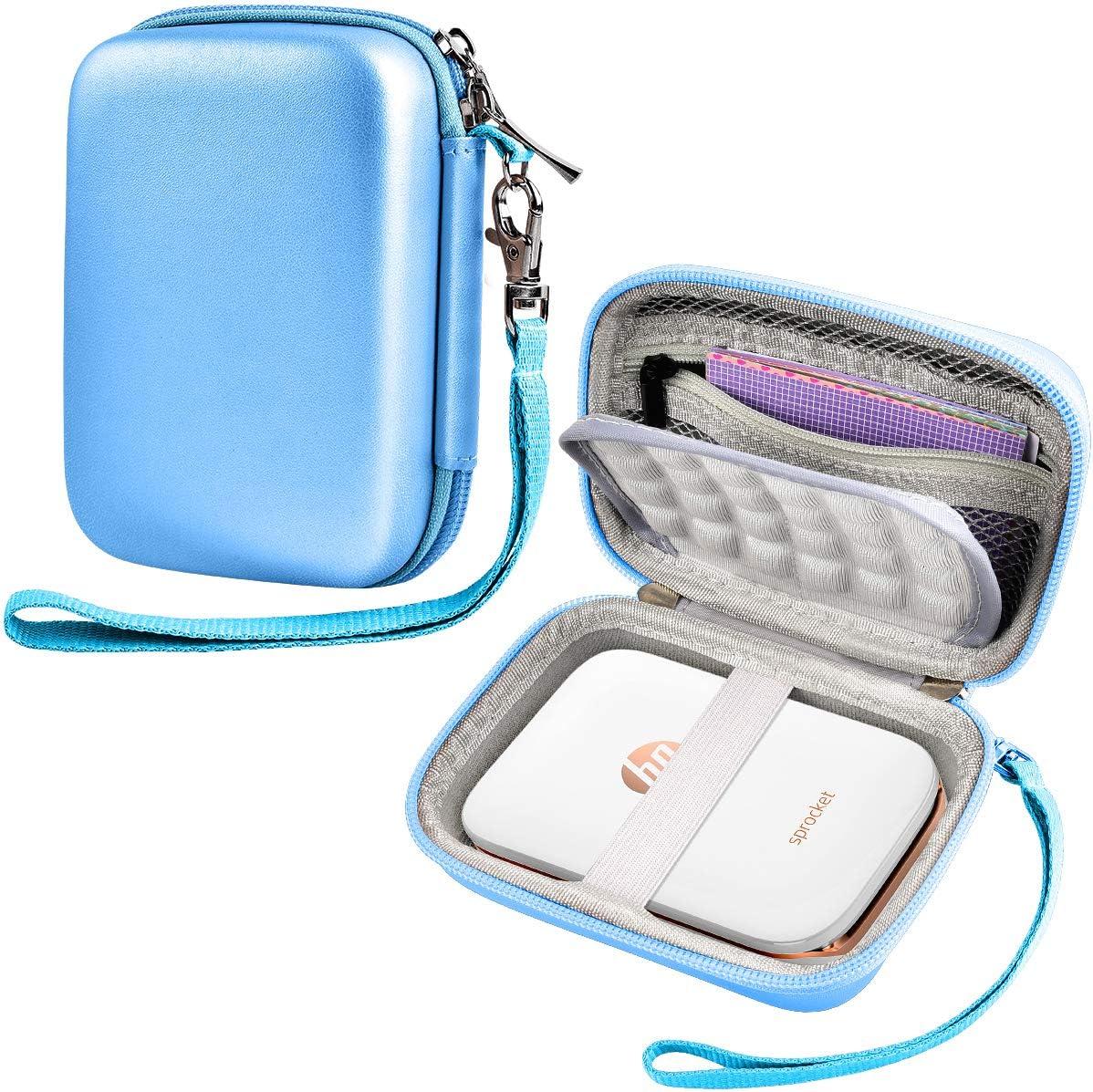 SAIKA Carrying Case Compatible with HP Sprocket Portable Photo Printer (2nd Edition) / Polaroid Zip Mobile Printer / Kodak Mini Shot Wireless 2in 1 / Lifeprint 2x3 Portable Box - Blue