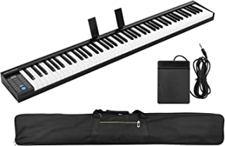 Festnight 88 Keys Digital Electronic Piano Keyboard MIDI Output Built-in Stereo Speakers Light Strip with 400 Tones 128 Rh...