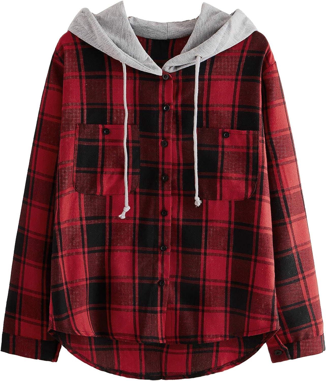 SweatyRocks Women's Long Sleeve Plaid Hoodie Jacket Button Down Blouse Tops