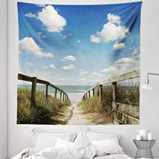 """Beach Tapestry Queen Size, Sandy Path Leads to Ocean Pacific Puffy Clouds Vacation Serene Relaxing Beach, Wall Hanging Bedspread Bed Cover Wall Decor, 88"""" X 88"""", White Cream"""