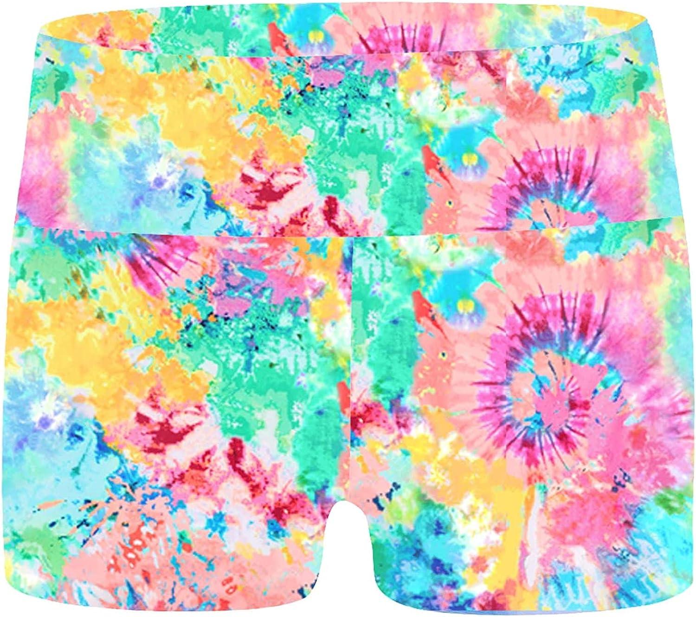 renvena Kid Girls Printed Dance Shorts High Waist Breathable Activewear Bottoms Swim Jogger Gym Short Pants