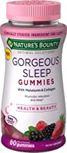 Nature's Bounty Optimal Solutions Gorgeous Sleep Melatonin 5mg Gummies with Collagen, Assorted Fruit Flavors, 50 Count, 60...