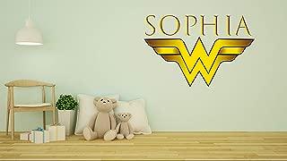 Customs Name Wonder Women Logo - Personalized Girls Superhero Name - Wall Decal Nursery Decoration - Bedroom playroom Decoration (Wide 20