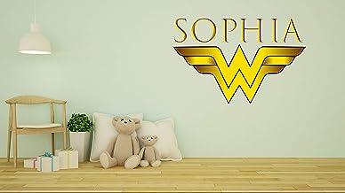 Customs Name Wonder Women Logo - Personalized Girls Superhero Name - Wall Decal Nursery Decoration - Bedroom playroom Deco...