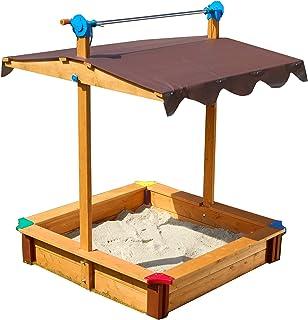 Gaspo 310436 - Cajón de arena para juegos con techo