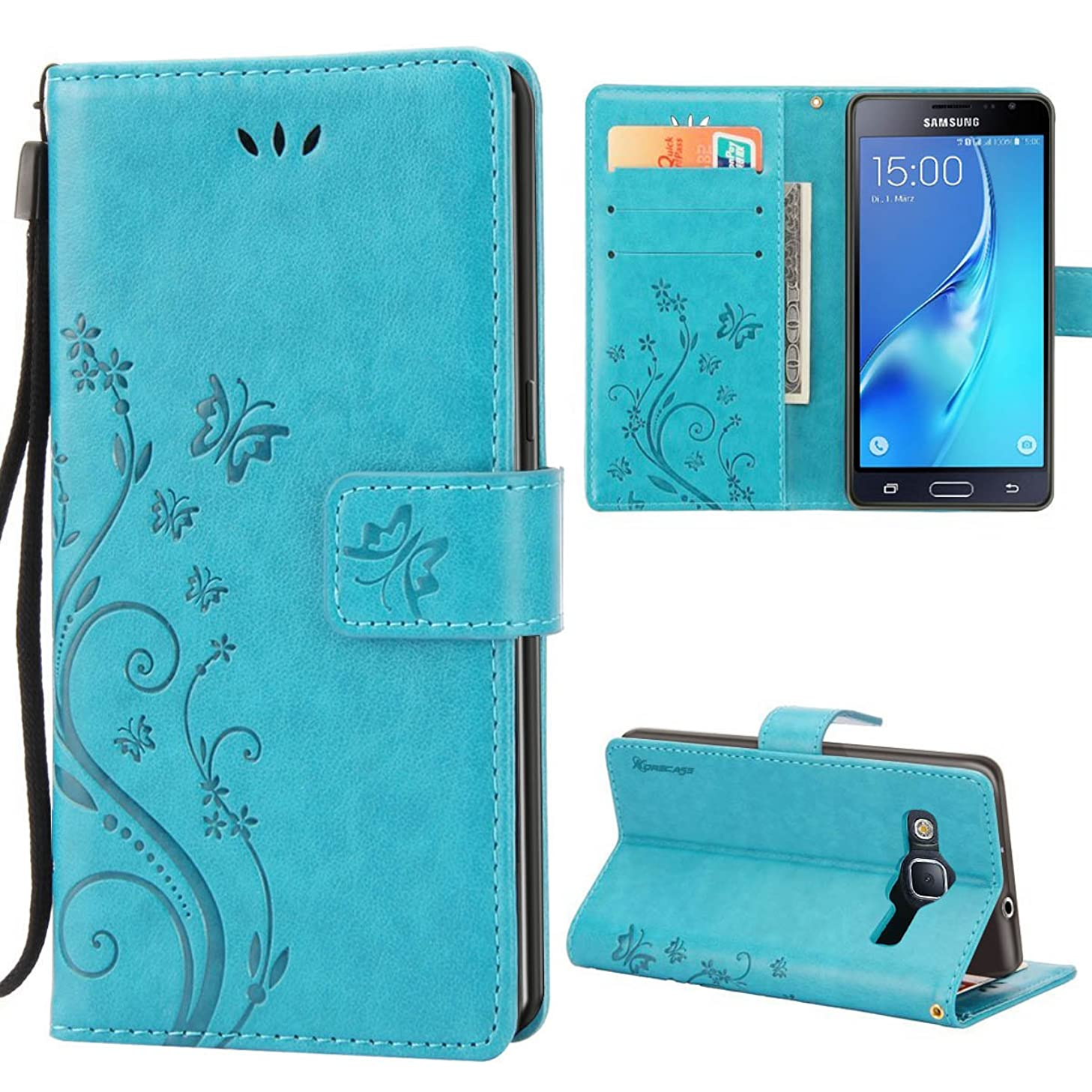 Galaxy J3 Case,Premiun Wallet Leather Credit Card Holder Butterfly Flower Pattern Flip Folio Stand Case for Samsung Galaxy J3 2016 J320 & Amp Prime & Express Prime With a Wrist Strap - Blue