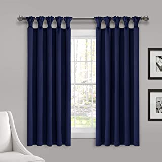Lush Decor Insulated Knotted Tab Top Blackout Window Curtain Panel Pair, 63