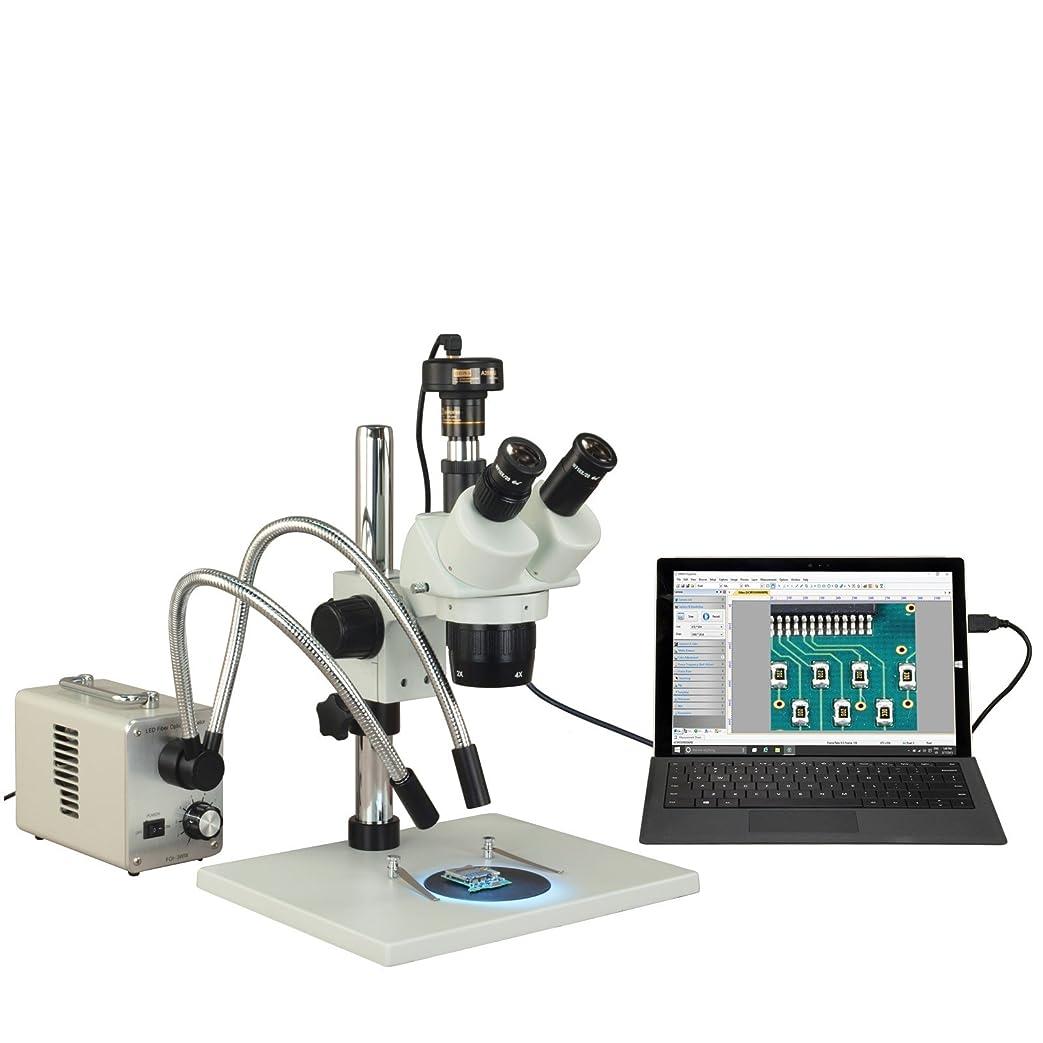 閃光逸話管理しますOMAX 表上の三眼10X、20X、40X、80X 5MP USBステレオ顕微鏡は20W LEDグースネックライトスタンド