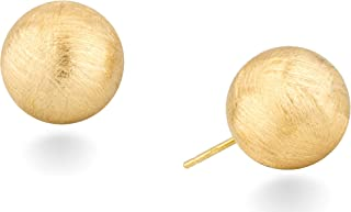 Miabella 18K Gold Over Sterling Silver Italian Brushed Satin Bead Ball Stud Post Earrings for Women Men Teen Girls 8mm, 10mm, 12mm, 14mm 925 Made in Italy