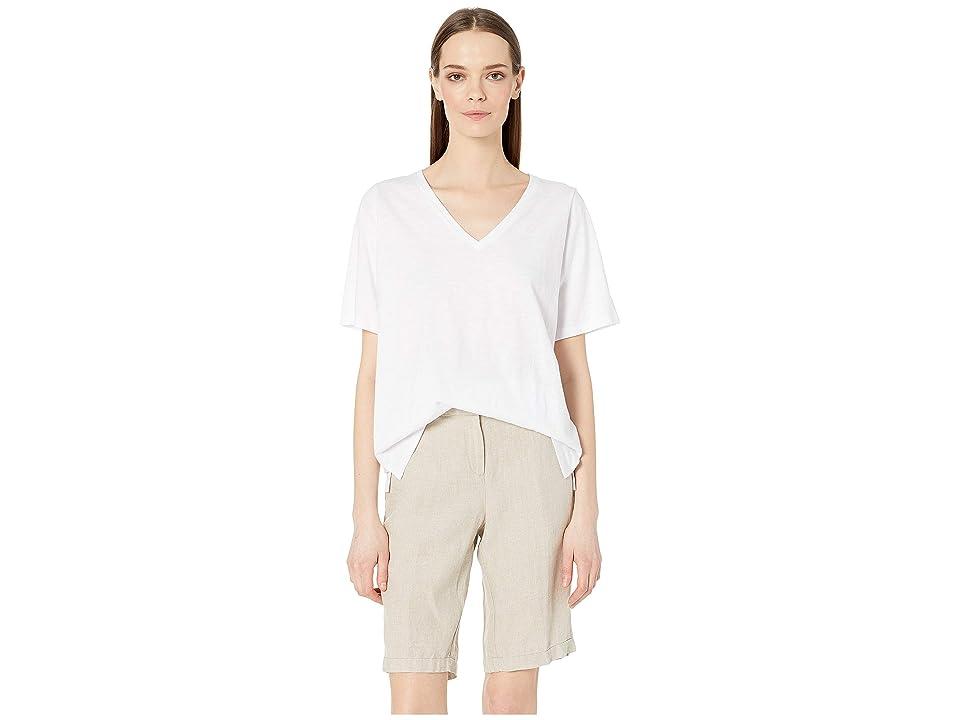 Eileen Fisher Slubby Organic Cotton Jersey V-Neck Short Sleeve Tee w/ Side Slits (White) Women