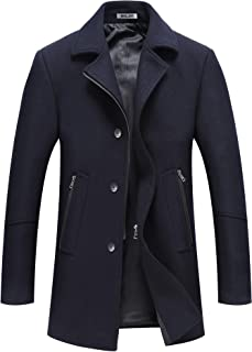 Men's Winter Wool Trench Blend Short Pea Coat Silm Fit Zipper Pockets Single Breasted Classic Stylish Jacket