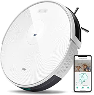 Trifo Ironpie H6 Robot Vacuum Cleaner Wi-Fi Connected Camera, 1800Pa Suction, Ultra Slim, Self-Charging Robotic Vacuum for Cleaning Pet Hair, Hard Floors, Carpets, Remote App Control, White Stripe