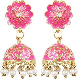 Sansar India Meenakari Stud Jhumka Indian Earrings Jewelry for Girls and Women