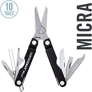 LEATHERMAN - Micra Keychain Multitool with Spring-Action Scissors and Grooming Tools, Stainless Steel, Black